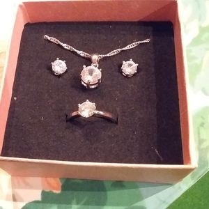 Sterling silver with white sapphire jewelry set
